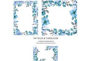 Sky Blue Floral Border Set