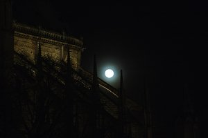 Notre Dame Cathedral and full moon