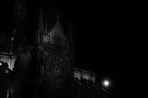 Notre Dame Cathedral. Full moon.