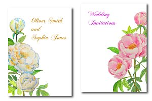 Wedding Clipart Watercolor DIY Peony