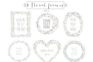 6 Floral frames clipart, vol.2