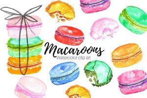 Macaroon Watercolor Clip Art