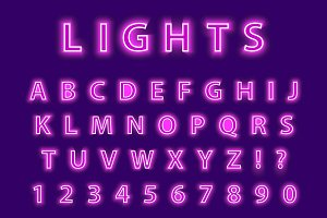 Modern trendy pink neon alphabet on a purple background. LED glowing letters font. Luminescent number. Vector illustration.