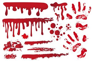 Set realistic bloody streaks. Handprint in the blood. Red splashes, spray, stains. Drops, drippings of bloodstains Isolated on white background. Halloween Concept. Vector illustration.