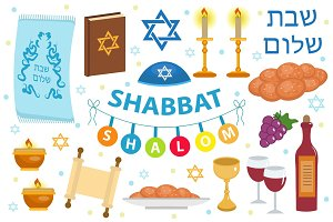 Shabbat Shalom icon set, flat, cartoon style. Collection of Jewish holidays symbol, design elements, Judaism concept. Isolated on white background. Vector illustration