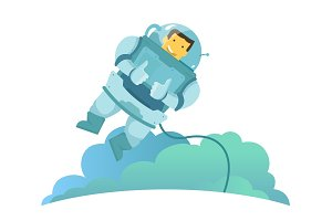 The astronaut in the weightlessness hangs in the air zero gravity. Feels great and recommends you. Thumbs up.