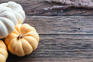 Pumpkin on a wooden table