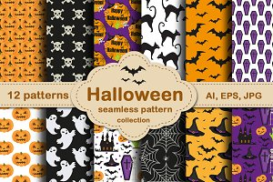 Halloween seamless patterns set