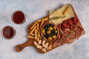 Sausage olives prosciutto