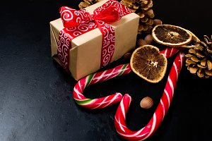 Christmas box, cones and candy