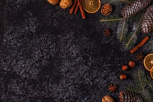 Christmas dark stone background