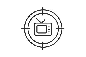 Aim on tv set linear icon