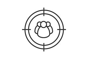 Aim on group of people linear icon