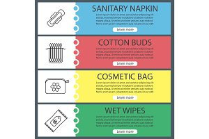Hygienic accessories web banner templates set