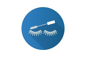 Eye mascara flat design long shadow glyph icon