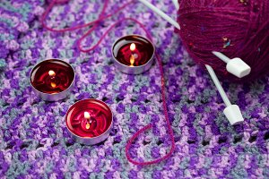 Candles and knitting set