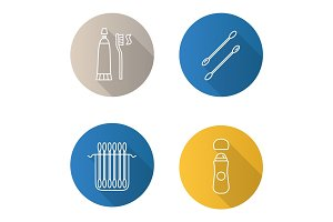 Hygienic products flat linear long shadow icons set