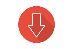 Download arrow flat linear long shadow icon