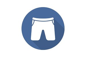 Swimming trunks flat design long shadow glyph icon