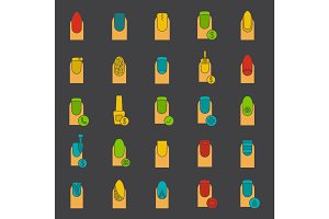 Manicure glyph color icon set
