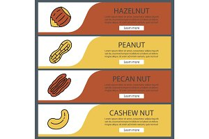 Nuts types web banner templates set