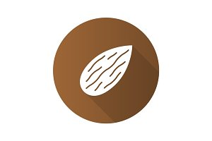 Almond flat design long shadow glyph icon