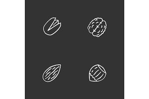 Nuts types chalk icons set