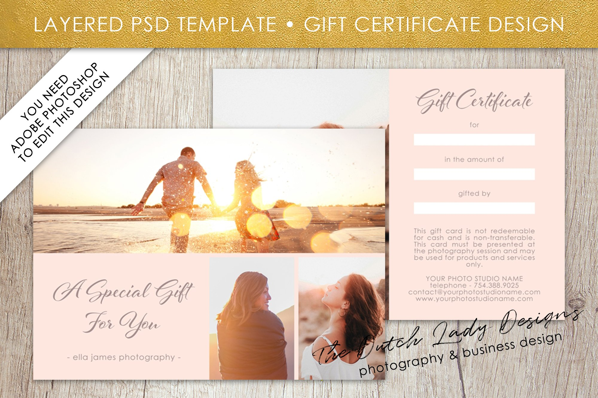 Psd photo gift card template 1 card templates creative market xflitez Choice Image
