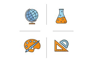 Education color icons set