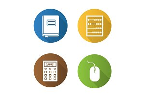 Accounting flat design long shadow glyph icons set