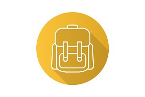 Schoolbag flat linear long shadow icon