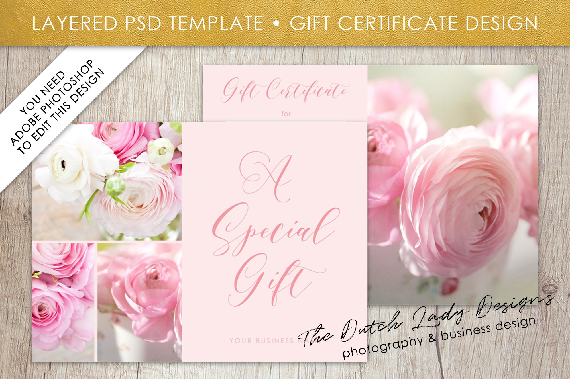 Psd photo gift card template 2 card templates creative market xflitez Choice Image