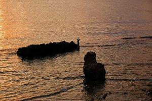 First sea bath at sunrise