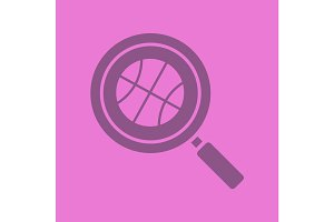 Basketball game search glyph color icon