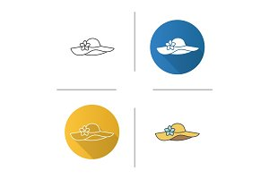 Women's beach hat icon