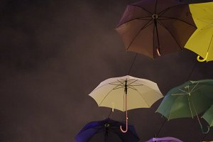 Colorful umbrellas at night