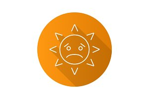 Sad sun smile flat linear long shadow icon