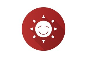Happy sun smile flat design long shadow glyph icon