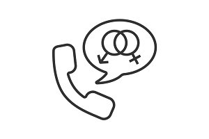 Phone sex linear icon