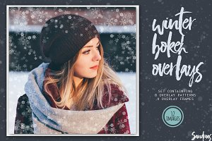 Winter bokeh photo overlays