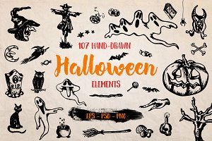 Halloween Illustrations Set