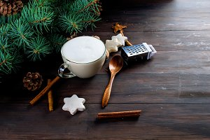 Christmas hot cocoa or latte