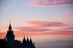 Conciergerie at sunset. Paris.