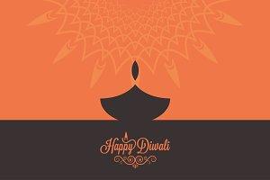 Diwali lamp contrast concept