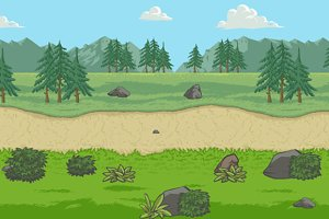 Fields with mountains tile sheet