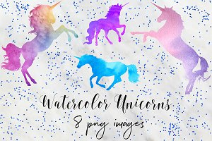 Watercolor Unicorn Clipart