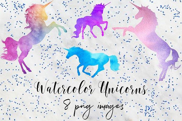 Watercolor Unicorn Clipart