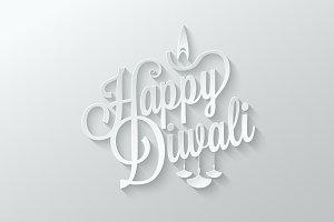 Diwali paper cut vintage lettering
