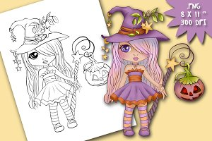Halloween Witch Digital stamp