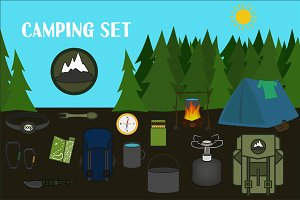 Day and Night Camping with equipment